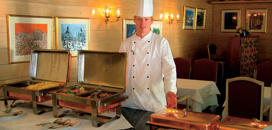 Brakanes Hotel, Ulvik, Norway - Restaurant with buffet.jpg